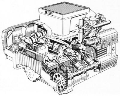 рядный двигатель с водяным
