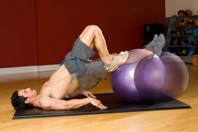 Gym ball leg curl